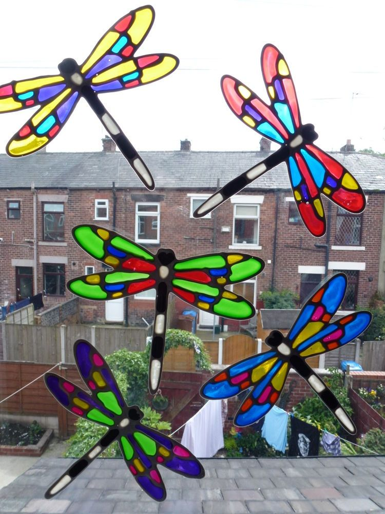 Window clings stained glass suncatcher 5 dragonfly patio door safety window clings stained glass suncatcher 5 dragonfly patio door safety stickers in home furniture planetlyrics Image collections