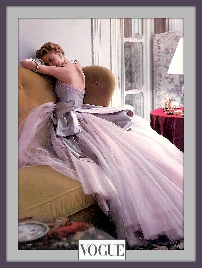Photographer Norman Parkinson 1950 – High Low Vintage Miss Patchett in a beautiful gown by Jean Dessès and shot by Norman Parkinson #Vogue 1950. Lovely…