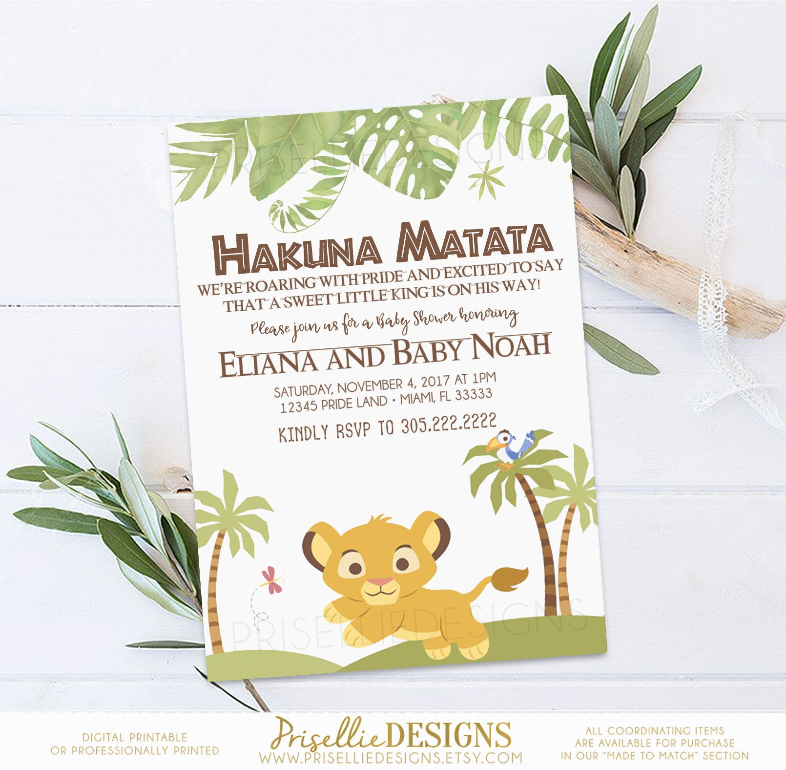 Simba Baby Shower Invitation, Lion King Baby Shower Invitation, The ...