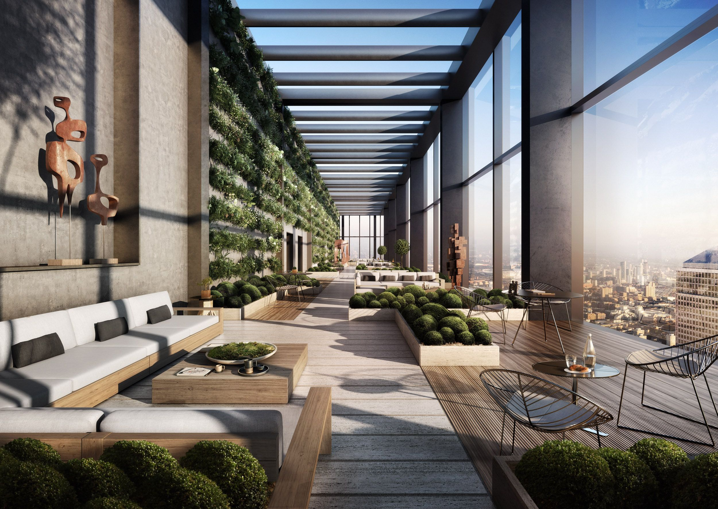 Incredible Roof Terrace At Landmark Pinnacle In Canary Wharf Londonlifestyle Rooftop Restaurant Design Apartment Rooftop Balcony Design