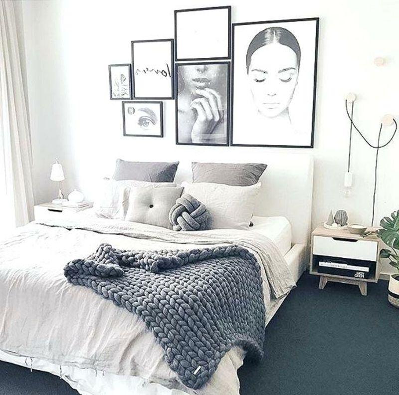 Graue Schlafzimmer Wandfarbe in 100 Beispielen Pinterest Interiors - schlafzimmer ideen weis modern