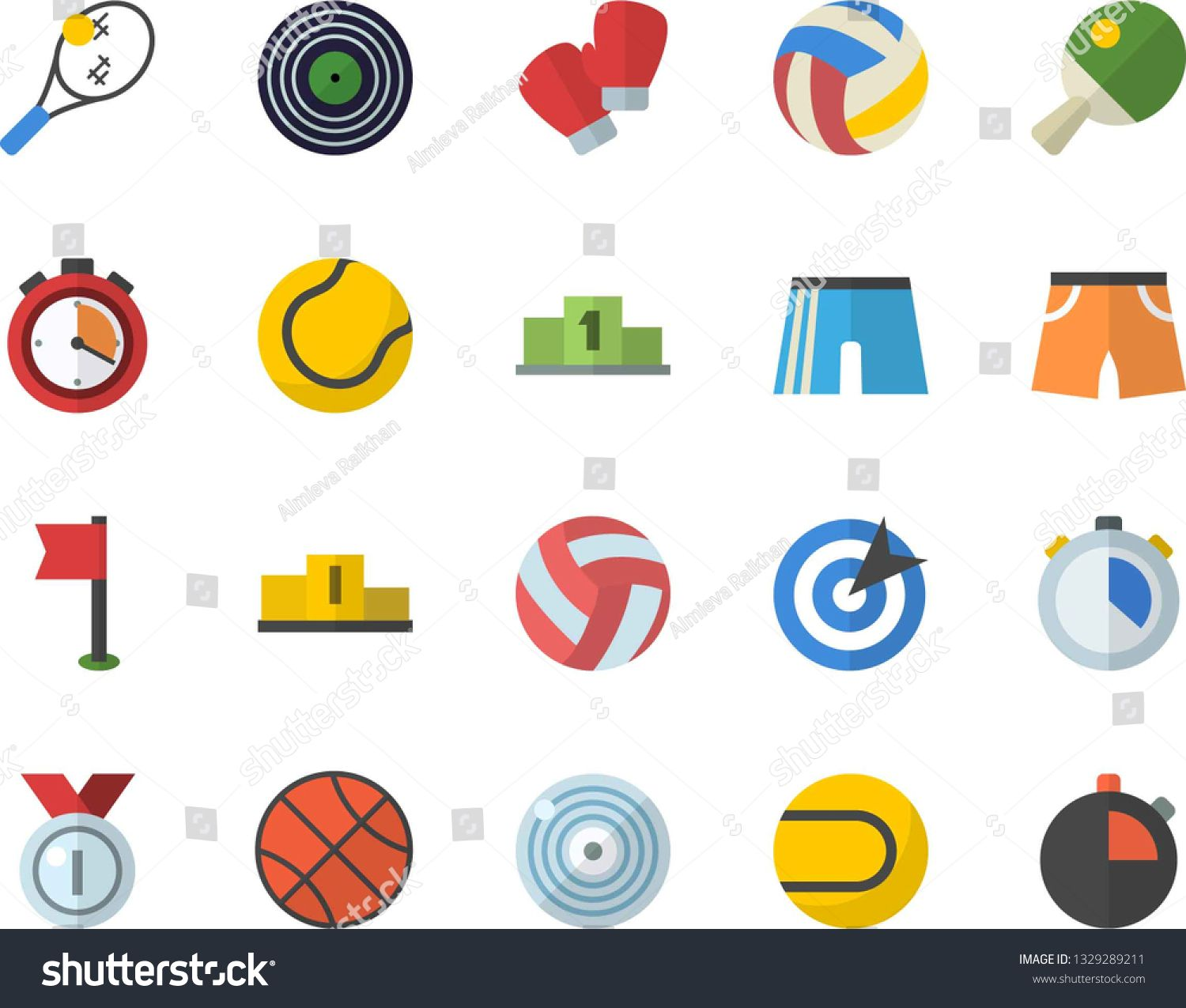 Color Flat Icon Set Target Flat Vector Medal Pedestal Basketball Volleyball Stopwatch Athletic Shorts Sports Fl Sports Flags Flat Icons Set Target Flats