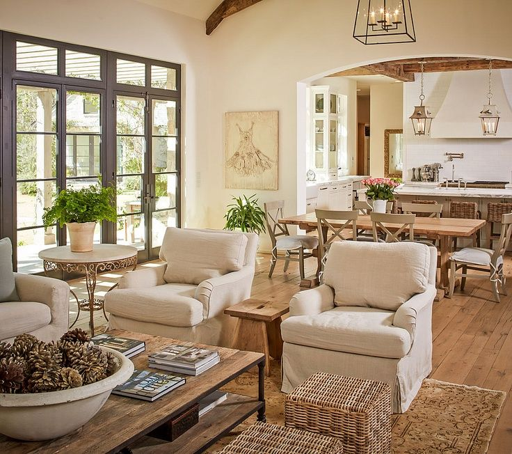 Open Plan Neutral Layered Living Room Dining Room Kitchen In The Background Country Living Room Design French Country Living Room Farm House Living Room #open #living #room #design