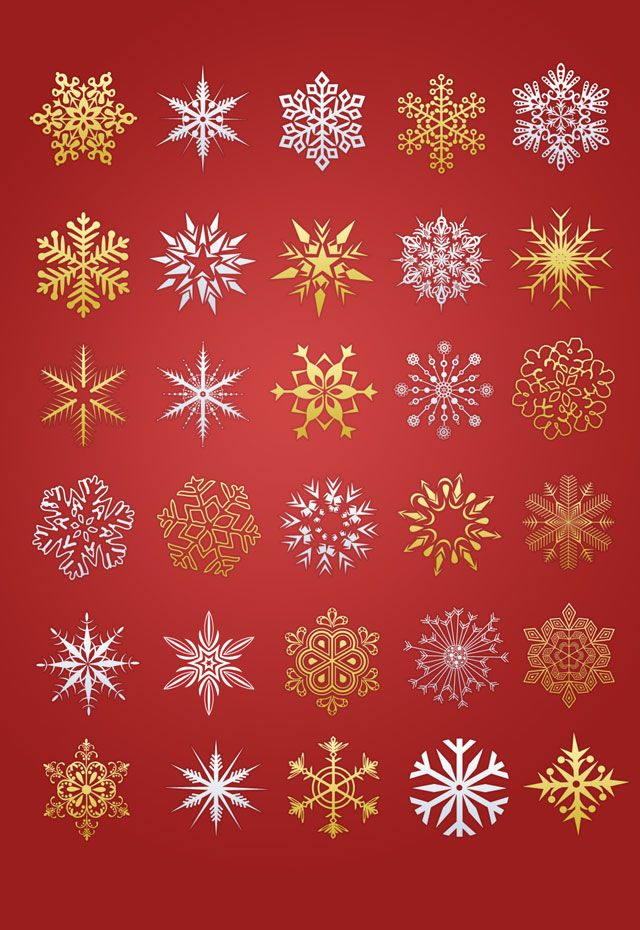 Golden and silver color Christmas snowflakes in