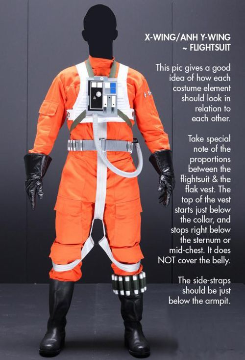 White Flak Vest Star Wars Costume X-Wing Rebel Fighter Pilot Orange Jumpsuit