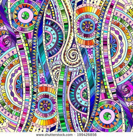 Original drawing tribal doddle ethnic pattern. Background with geometric elements. - stock vector #stockportfolio