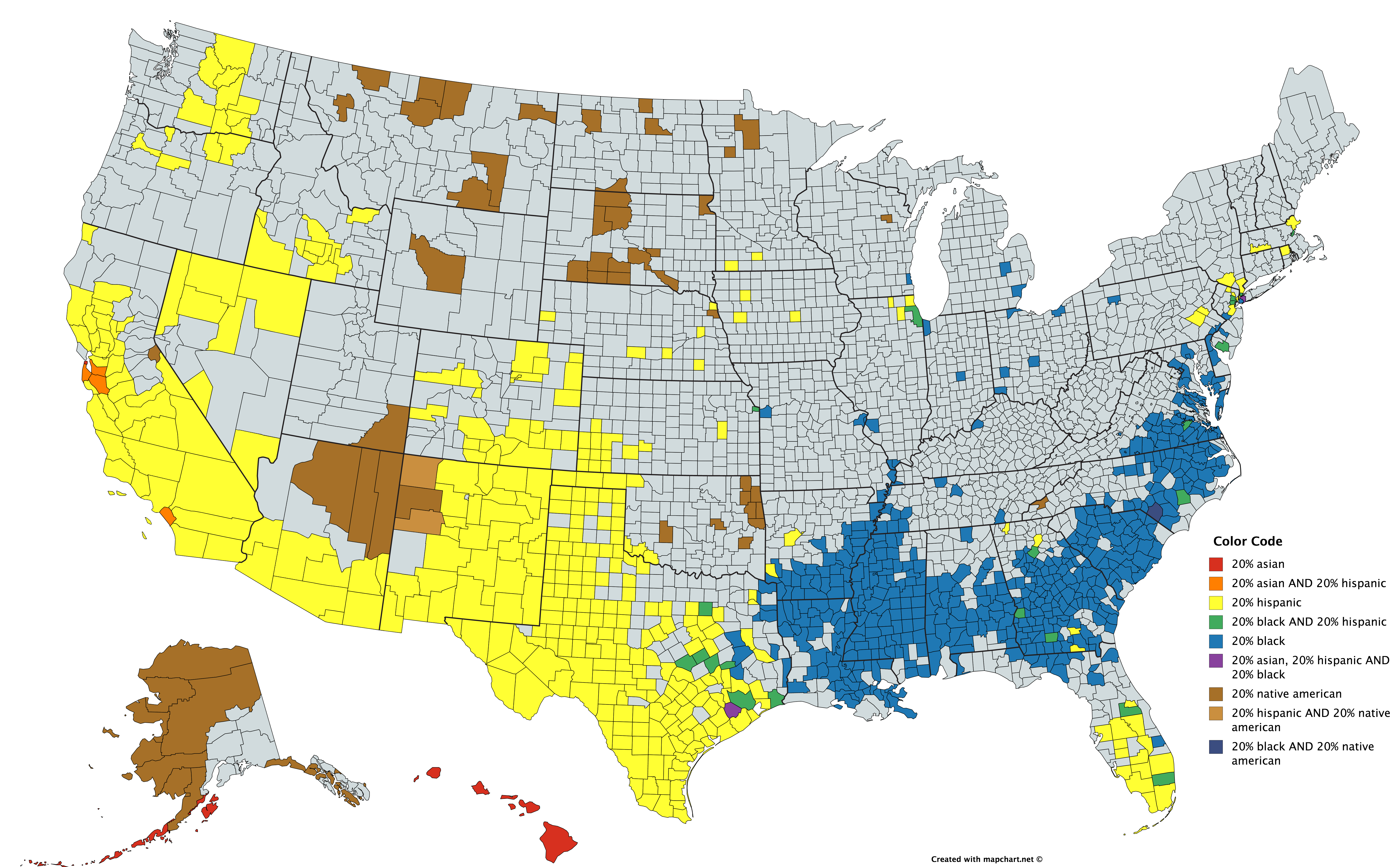 Significant Racial Minorities In Each County U S Maps Charts - Us-map-chart