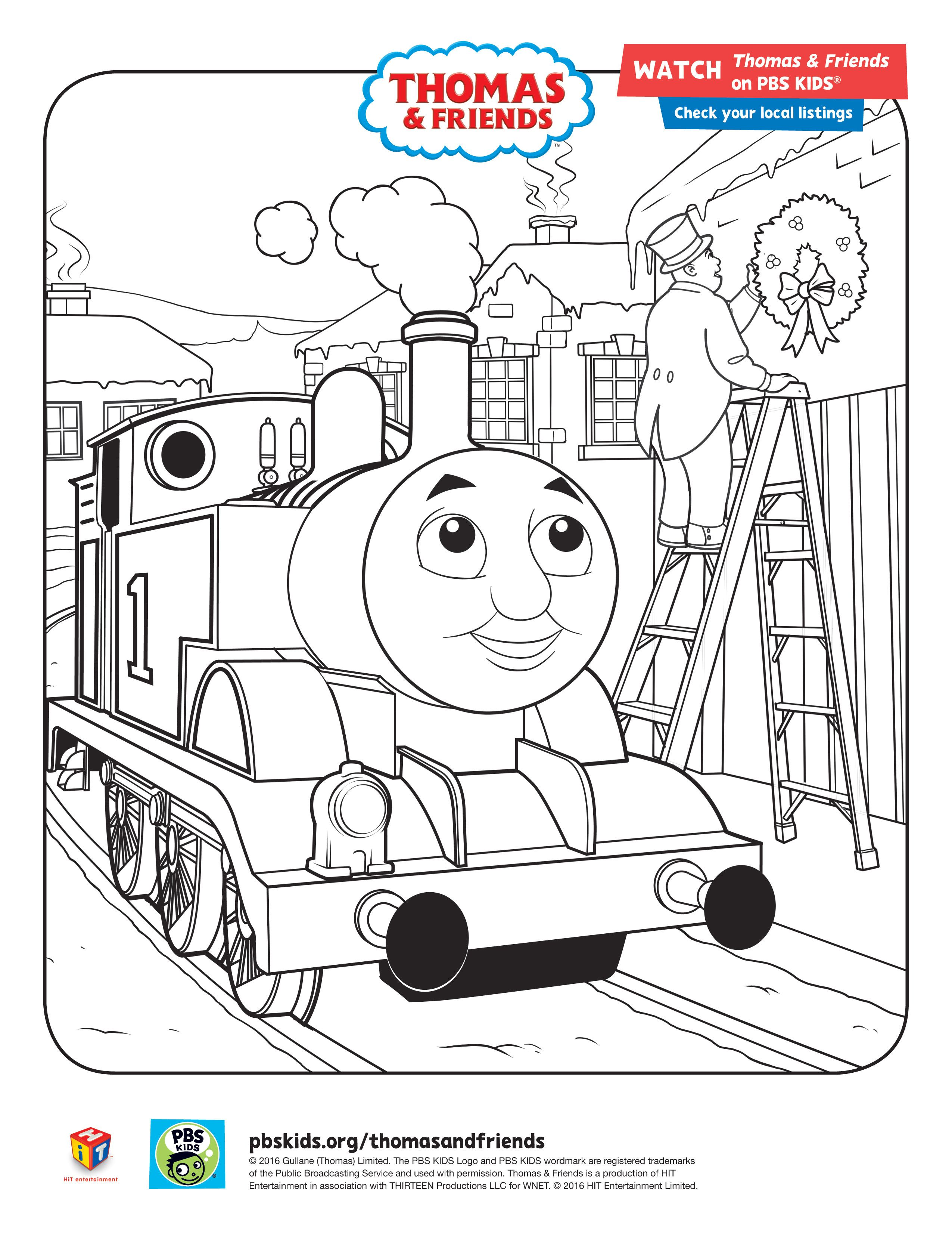 pbskids.org coloring pages Thomas & Friends holiday coloring sheet #ThomasandFriends #PBSKids  pbskids.org coloring pages