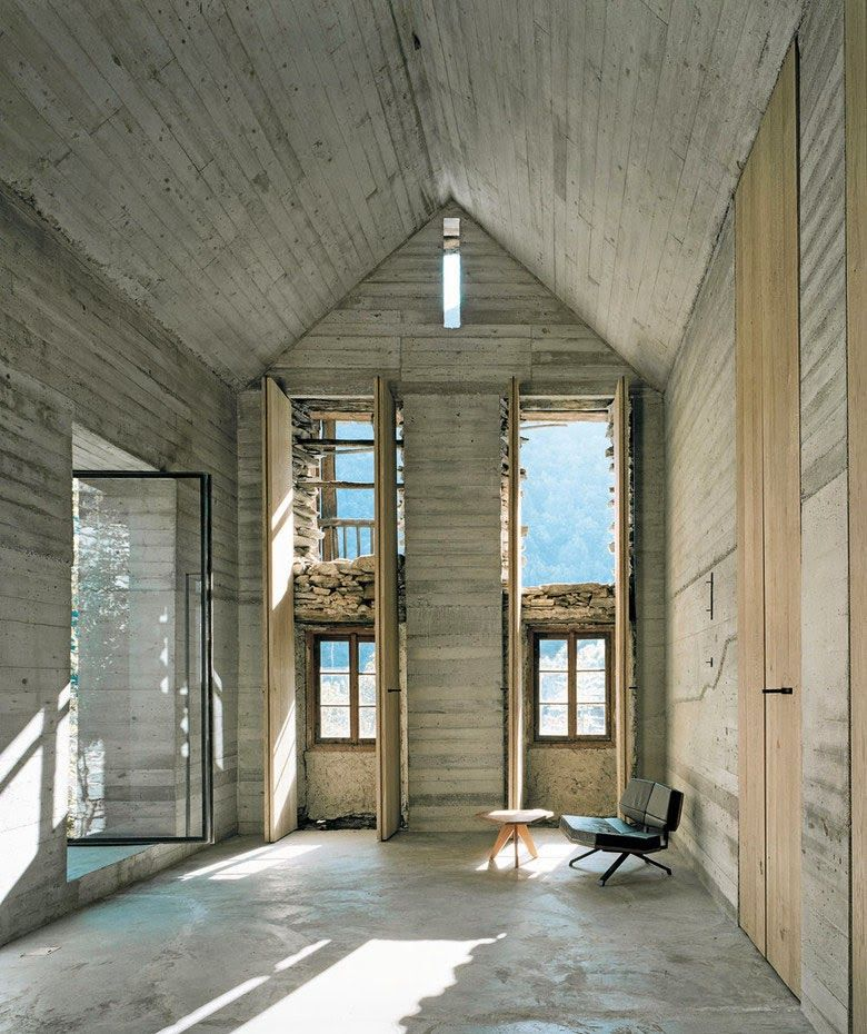 Holz architektur innenraum  minimalistisches haus design aus beton-raumhöhe öffnungen   My ...