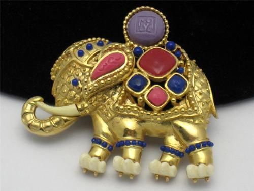 Vintage Hattie Carnegie Brooch or Pendant Egyptian Revival Figural Elephant   eBay