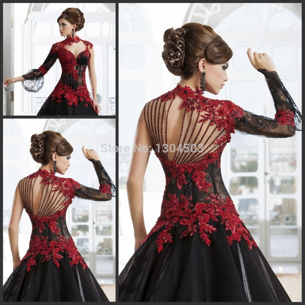 Find More Wedding Dresses Information about Romantic Black Gothic ...