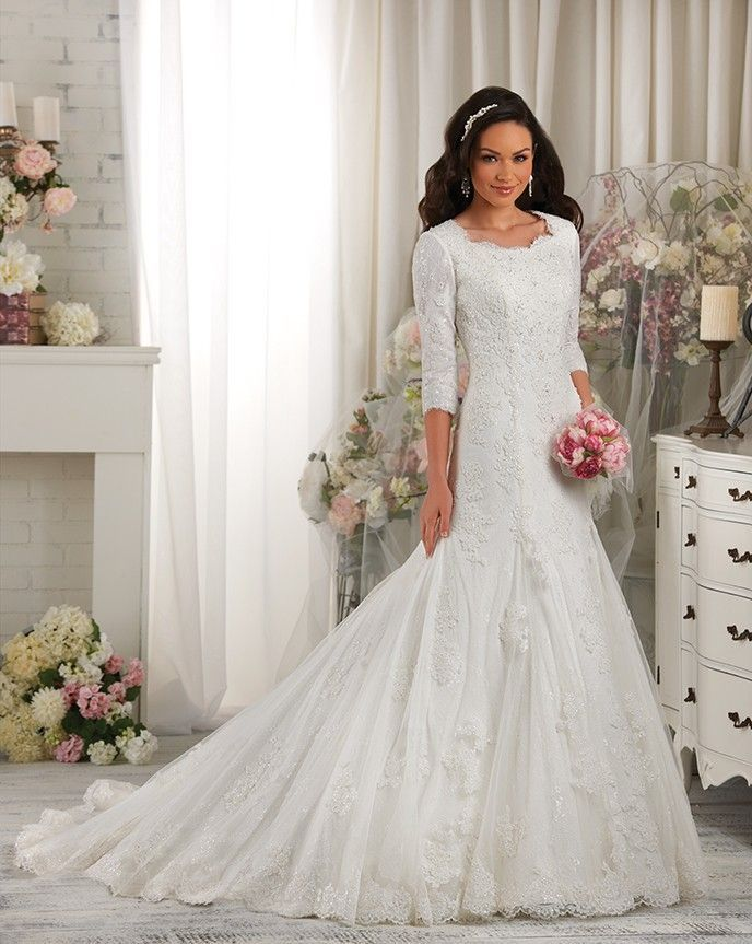Cheap Bridal Gown Buy Quality Lace Wedding Dress Directly From China Stock Dresses Suppliers Modest High Back Sleeve 2015