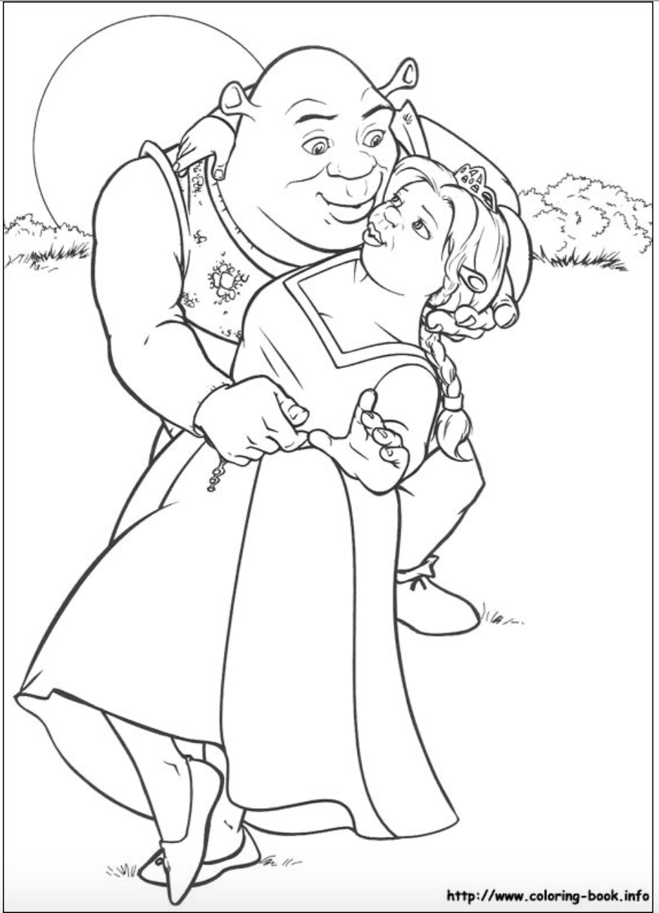 Coloring book info princess - Shrek And Princess Fiona Coloring Page