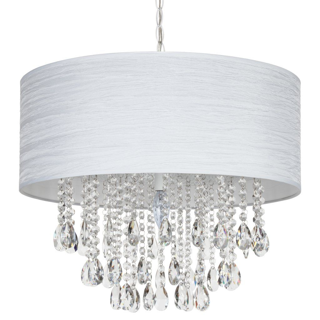 Large 5 Light Crystal Plug In Chandelier With Cylinder Shade