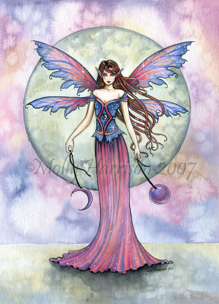 """Molly Harrison Celestial Fairy Art """"luna Jewel"""" Mythical"""