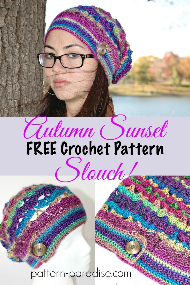 Free Crochet Pattern: Autumn Sunset Slouch | Pinterest
