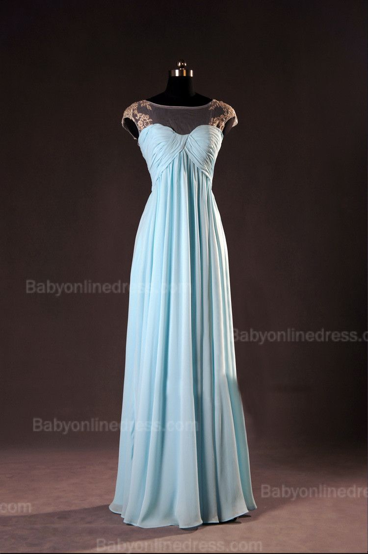 Sky blue bateau cap sleeve evening dresses aline ruffles