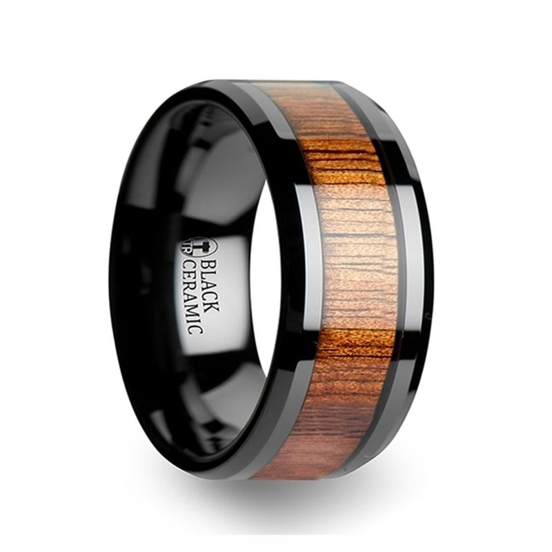 Acacia Koa Wood Inlaid Black Ceramic Ring With Bevels 12mm With Images Titanium Wedding Rings Ceramic Wedding Bands Black Ceramic Ring
