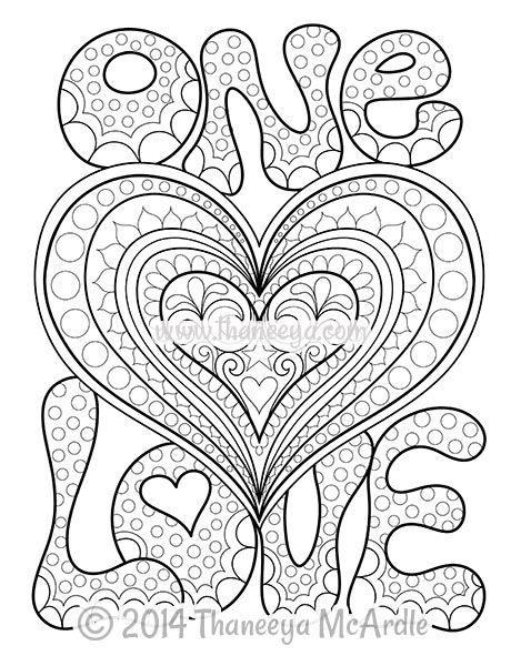 One Love Coloring Page from Peace and Love Coloring Book | adult ...