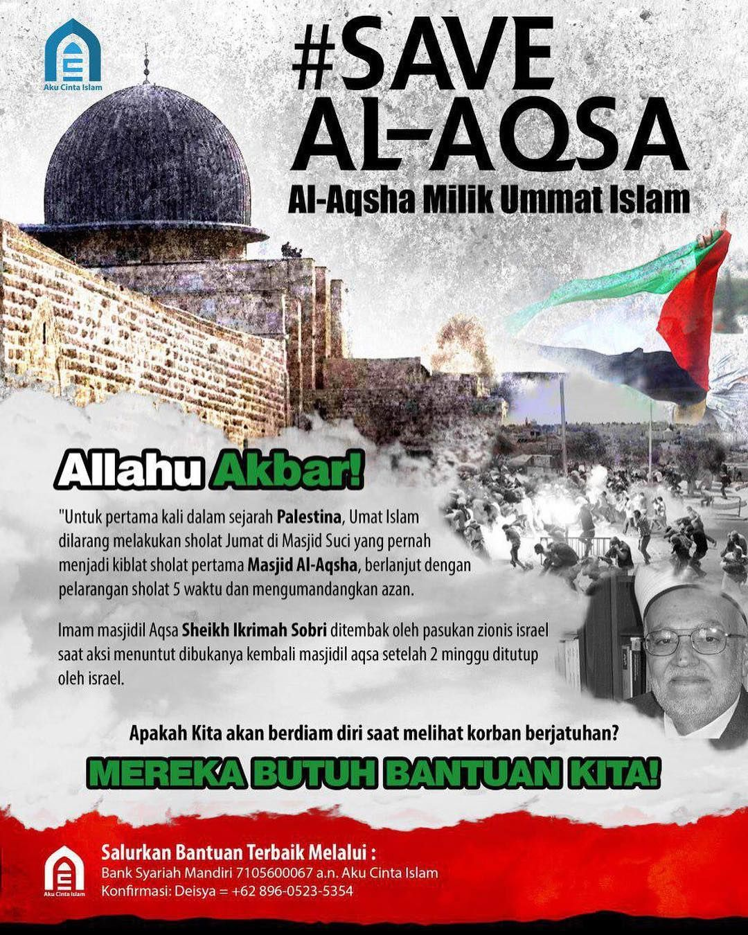 Save Al Aqsa AlAqsha Milik Ummat Islam Allahu Akbar