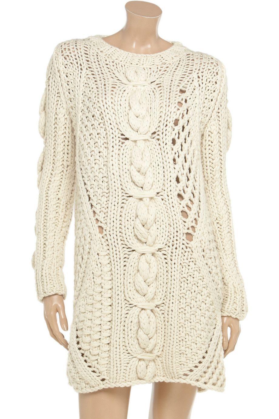 Pringle of Scotland Aran knit cashmere sweater dress 85% Off ...