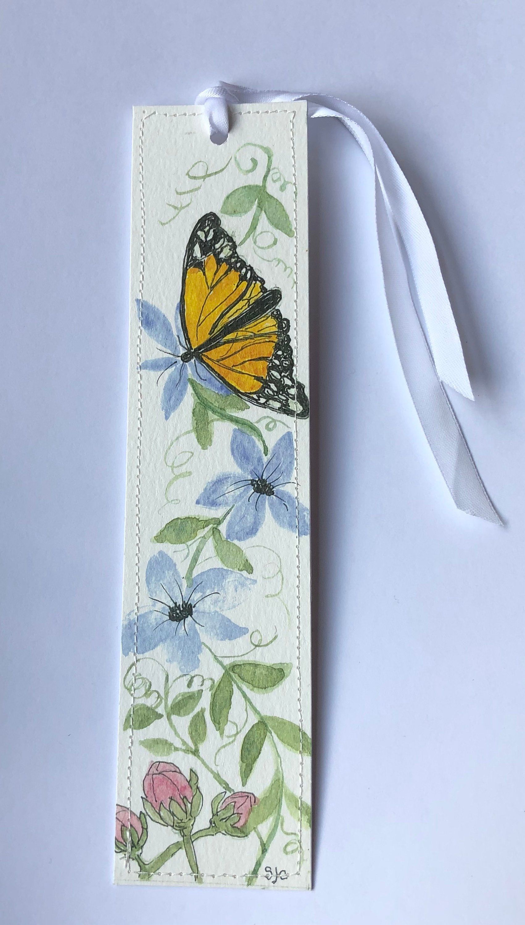 Bookmark Butterfly And Flowers Hand Painted Print Of Original