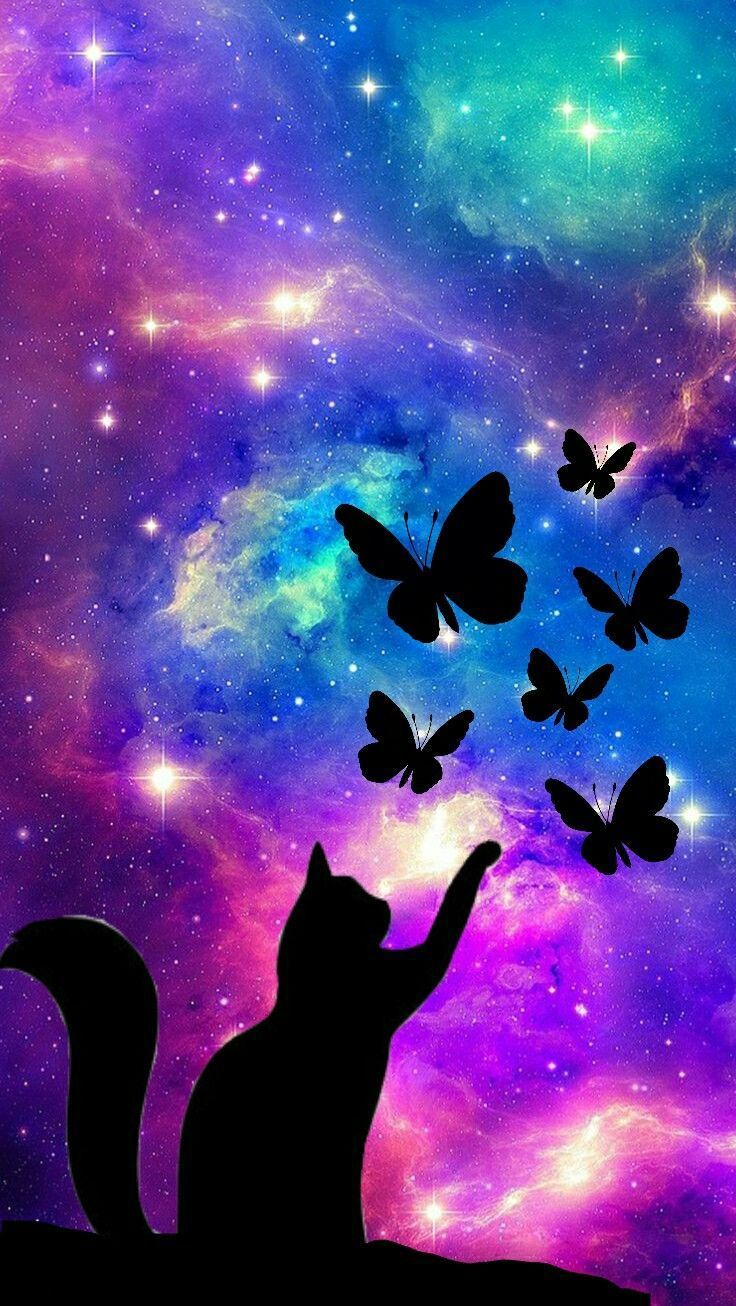 Galaxy Cat Background : galaxy, background, Galaxy, Butterfly's????, #frühlingsdekobasteln, #frühlingsdeko…, Shadow, Painting,, Wallpaper,, Wallpaper