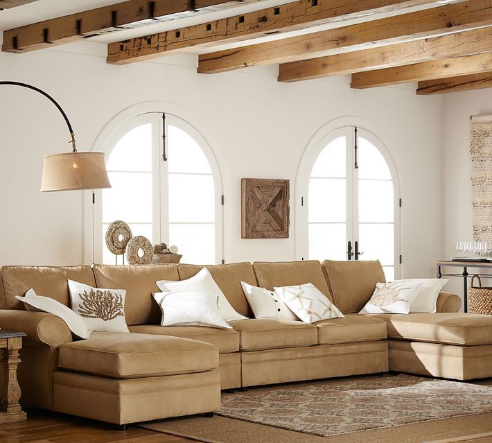 Pearce Roll Arm Upholstered 4 Piece U Chaise Sectional