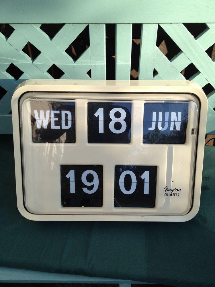Vintage Retro Grayson Bank Post Office Digital Wall Flip Clock In Cream Colour Retro Wall Clock Clock Retro Vintage