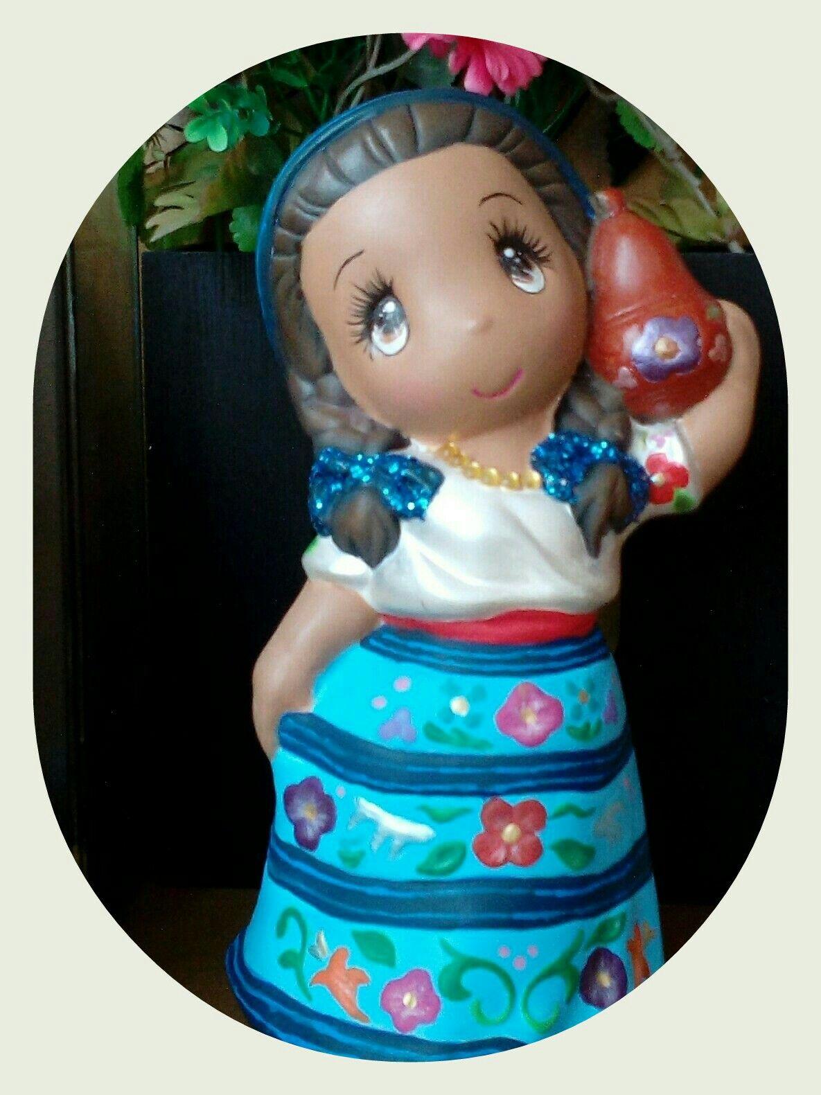 Mueñeca Regional Acateca Estado De Guerrero Ceramica Regional Acateca Guerrero México Hojas De Ganchillo Como Pintar Ceramica Muñecas Mexicanas