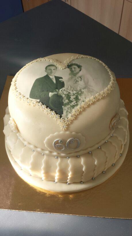 Verwonderend Bruidstaart 60jaar getrouwd | Marsepein taart, Taart QS-71