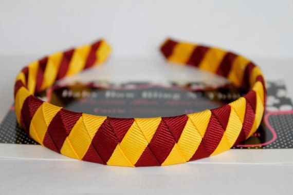 **I need to figure out how to make this!!!!!!! Harry Potter Headband - Gryffindor Harry Potter Inspired Woven Headband - Maroon and Gold Headband. $5.49, via Etsy.