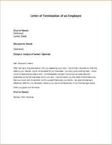 Letter Of Termination Of An Employee Download At Http