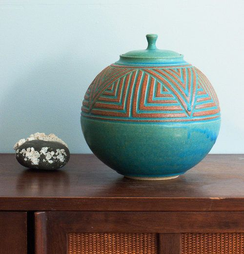 Round Lidded Jar Turquoise By Janet Williams Pottery