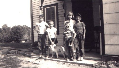 Growing up on the farm. My cousins, Johnny, Ronnie and Lonnie..and my brother, Johnny with the dog...and of course, me..Bonnie. Can you imagine how that sounded when our parents called us in?