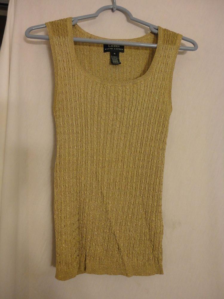 Lauren Ralph Lauren Sz M Gold Metallic Cable Knit Sleeveless Sweater