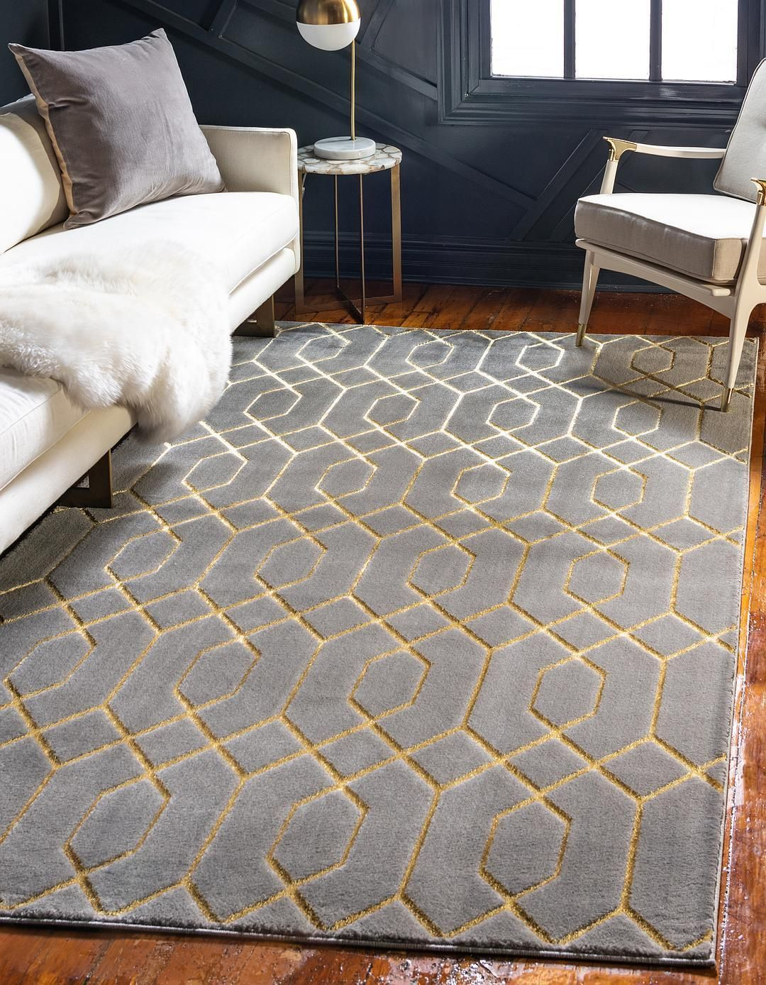 Gray Gold 9 X 12 Marilyn Monroe Glam Trellis Rug Area Rugs Esalerugs Gold Living Room Grey And Gold Bedroom Glam Living Room
