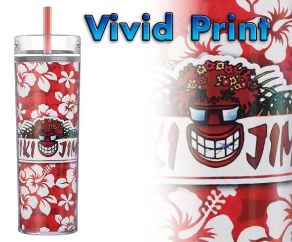 Item B309 4CP - Red • 15 oz. • Clear vivid with color straw and lid • Vibrant full color 360º imprint. • FREE Personalizations. • FREE Copy Changes.