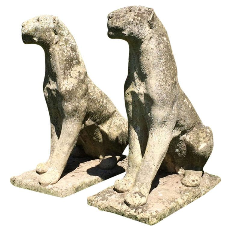 Large Weathered English Cast Stone Jaguars | From A Unique Collection Of  Antique And Modern Statues