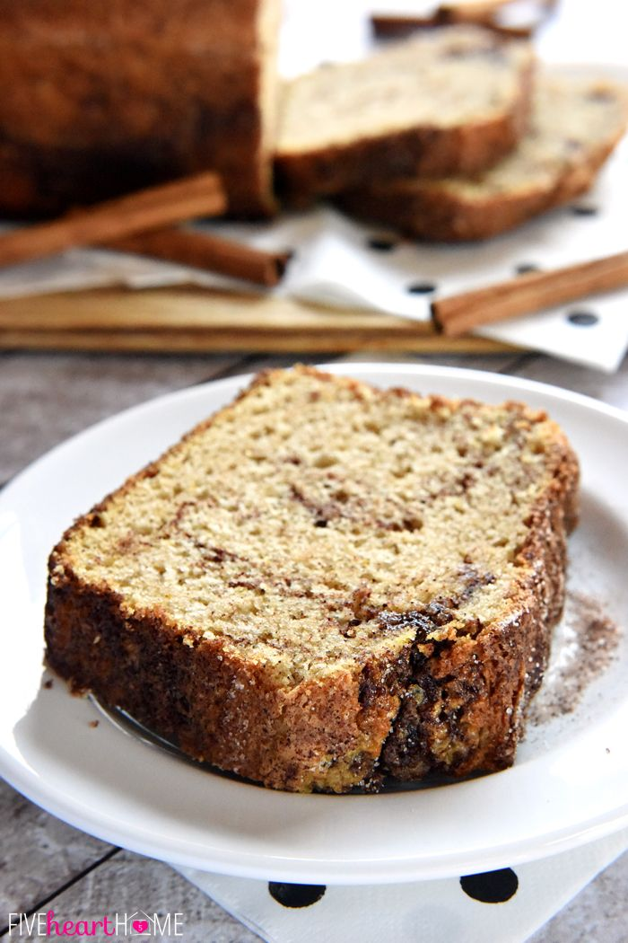 Cinnamon Bread (no-yeast quick bread) ~ soft and sweet, this easy recipe is a tasty treat for breakfast or as a snack...and since it yields multiple loaves, it's also perfect for holiday (or anytime) gift giving!   FiveHeartHome.com