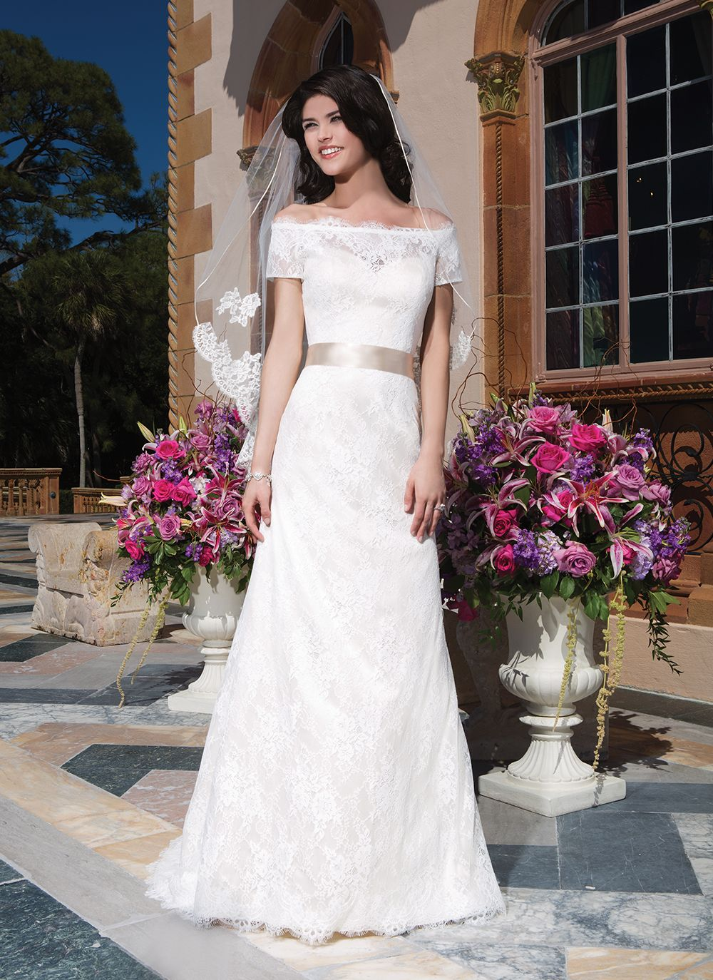 Sincerity wedding dress style cotton chantilly lace straight