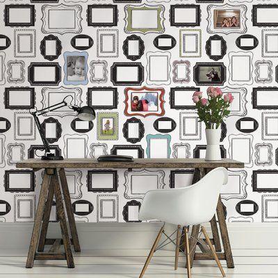 Hashtag Home Whorton Photo Frames 30 75 L X 30 75 W Wallpaper Roll Peel And Stick Wallpaper Wallpaper Samples Nuwallpaper