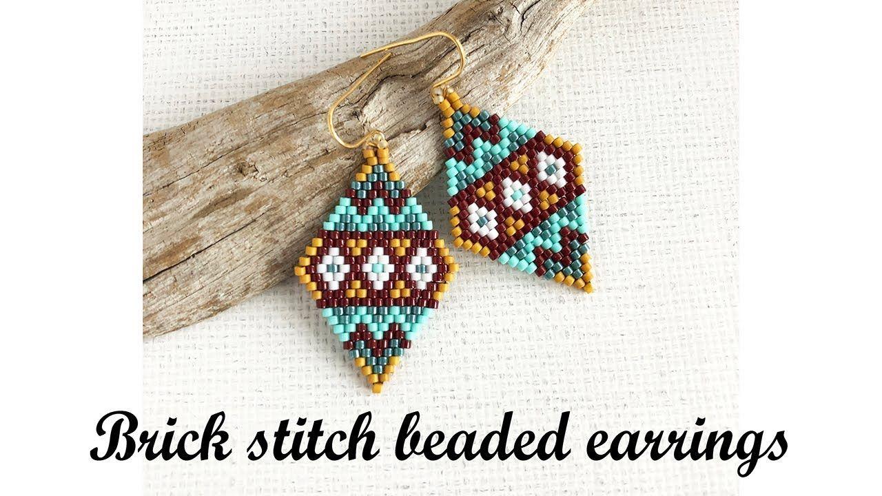 Brick Stitch Beaded Earrings Tutorial Youtube Beaded Earrings