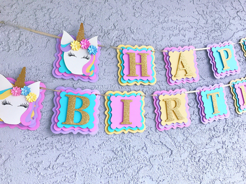 Unicorn Birthday Party Banner Unicorn Happy Birthday banner Unicorn Birthday Sign Unicorn Birthday Happy Birthday Banner Unicorn party Decorations yellow pennant banner unicorn theme