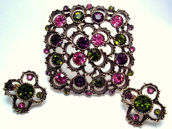 Vintage Brooch and Earring Set Austrian Lights by by Ladysprettys, $30.00