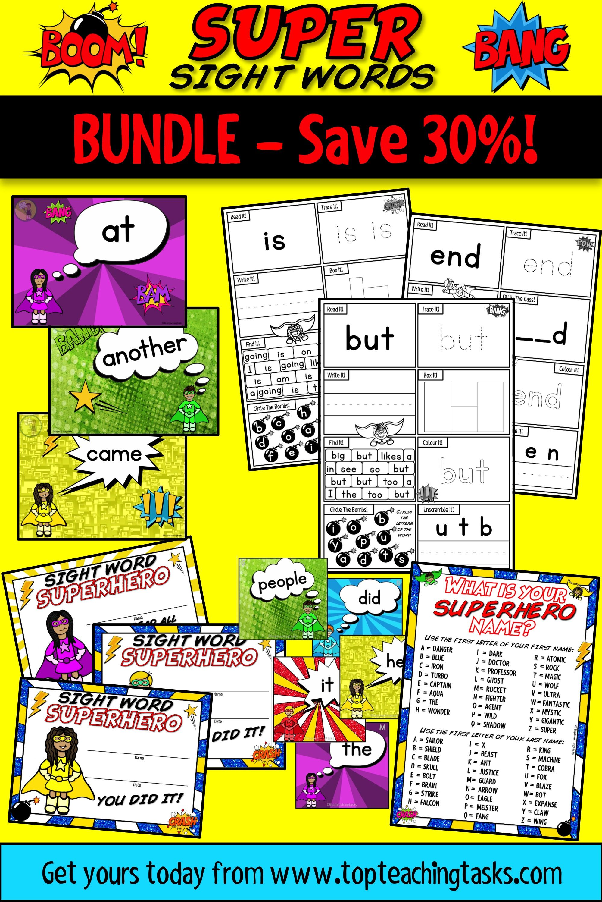 New Zealand Sight Words Bundle Magenta Red Yellow Blue