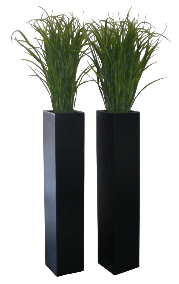 Britz Fiberglass Black Tall Planter Tall Planters 400 x 300