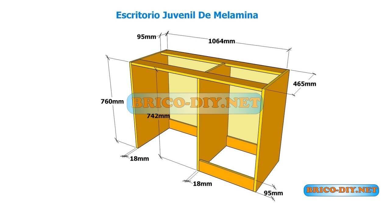 Como hacer un escritorio juvenil planos con medidas para Programa para hacer muebles de melamina