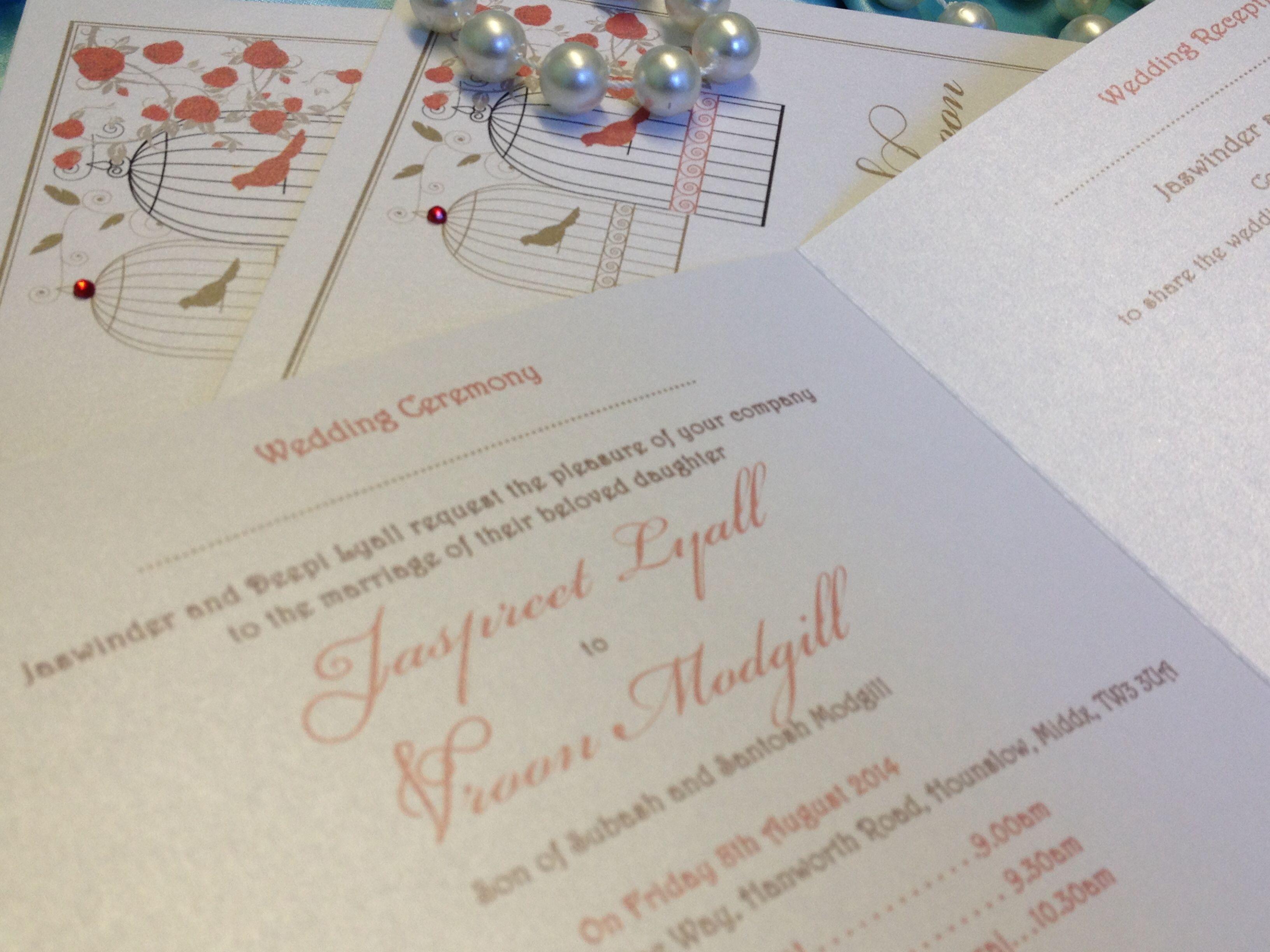 London Wedding Invitations Beautiful Bespoke Vintage Folded Card With Adorable Birdcage Des Wedding Stationery Wedding Invitations Bespoke Wedding Stationery