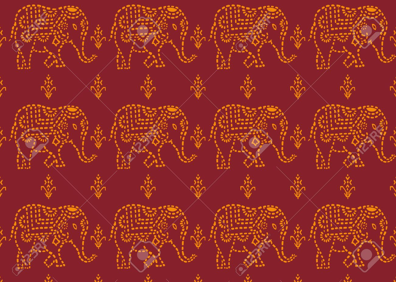 Seamless Red And Yellow Indian Elephant Wallpaper Royalty ...